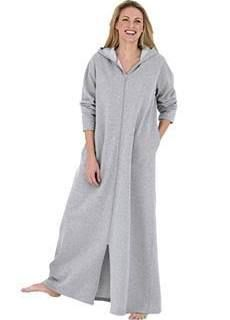 hooded robe with zipper - fleece Plus Size Robes 092a68084