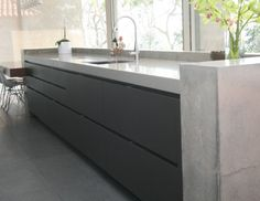 Concrete By Design Grey Kitchen Cabinets, Kitchen Flooring, Building A New Home, Polished Concrete Kitchen, Kitchen Benchtops, Small House Design, Kitchen Benches, Concrete Kitchen Floor, Outdoor Kitchen