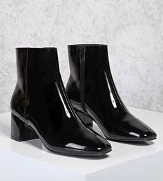 Forever 21 Black Patent Booties