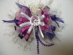Fancy Nancy BIG Over the Top Hair Bow .Purple,Pink and. White Ribbon with Purple Beads and White and Gold Feathers White Ribbon, Ribbon Bows, Grosgrain Ribbon, Girl Hair Bows, Girls Bows, Fancy Nancy Costume, Dress With Bow, Dress Up, Fancy Bows