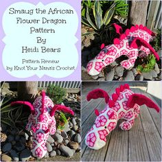 Smaug the African Flower Dragon pattern by Heidi Bears Hexagon Crochet Pattern, Crochet Motif, Crochet Flowers, Crochet Patterns, Crochet Crafts, Crochet Dolls, Yarn Crafts, Crochet Projects, African Flower Crochet Animals