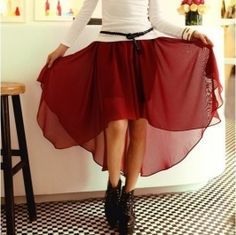 Exquisite Elastic Waist and Irregular Hem Design Solid Color Chiffon Skirt For Women Red Chiffon, Chiffon Skirt, High Low Dresses Casual, Curvy Outfits, Sammy Dress, Dress Me Up, Dress Red, Holiday Dresses, Boho