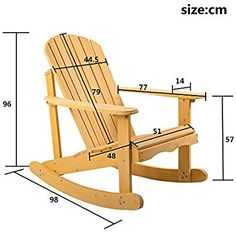 Leisure Zone ® Adirondack Rocking Armchair for Garden & Patio in natural solid wood Comfortable curv Rattan Garden Furniture Sets, Outdoor Furniture Plans, Wood Pallet Furniture, Woodworking Furniture, Diy Furniture, Furniture Market, Steel Furniture, Furniture Layout, Furniture Projects