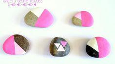 Galets aux motifs géométriques