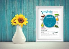 These are printable recipes of Greek Tzatziki salad and Greek Aubergine salad as food art. Great for your wall and better for your taste. These are the original Greek recipes #wall art#printable #foodart