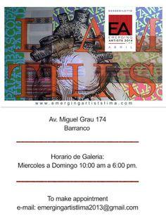 Opening Night: Thursday April 10 - 7:30 a 11:00 pm Free Para estar presente en la inauguración, por favor registrarse en el siguiente enlace http://www.eventbrite.com/e/emerging-artist-lima-2014-arte-receptcion-tickets-10947338785?aff=eivtefrnd — con Eddy Huarcaya Garay y 15 personas más.