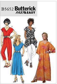 Misses Top, Dress, Caftan, Jumpsuit, Trousers Butterick Pattern 5652.