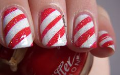 Striped Candycane Nails