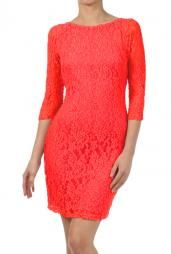 Date Night 3/4 Sleeve Lace Bodycon Dress in Coral Red #dress #dresses #boutique