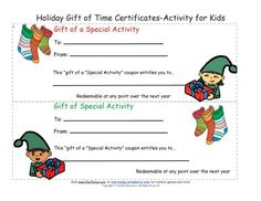 Holiday Gift of Time Coupon Certificates