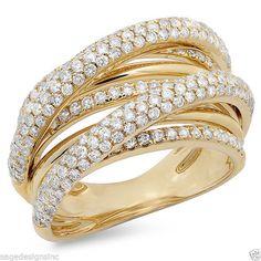 1.74 CT 14K Yellow Gold Diamond Cocktail Right Hand Bridge Multi Layover Ring