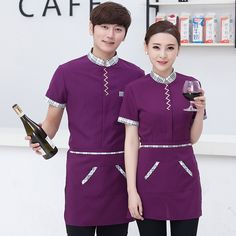 Chinese Restaurant Waiter Uniform Short Sleeve Summber Hotel Service Work Wear Coffee Shop Waitress Uniform Overalls #Affiliate