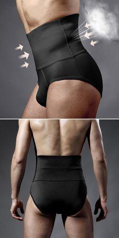 US$18.18# Ab Curling Body Sculpture Fat Burning Fitness High Waist Brief Unserwear for Men