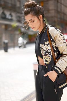 If you get only one piece this season, the embroidered bomber is the way to go. The jacket not  only makes a stylish statement with its special detailing, but it