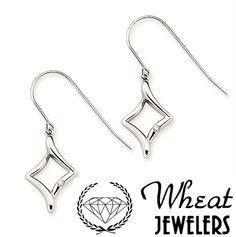 Skinny diamond shaped drop earrings from Wheat Jewelers