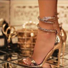 Fancy Shoes, Gold Shoes, Gold Sandals, Pretty Shoes, Unique Shoes, Heeled Sandals, Shoes Sandals, High Heels Stilettos, Stiletto Heels