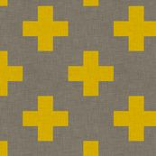 plus_one_linen_yellow fabric by holli_zollinger for sale on Spoonflower - custom fabric, wallpaper and wall decals