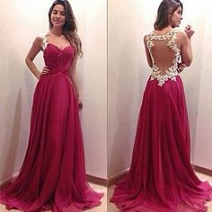 hot pink Prom Dresses,charming prom dress,long prom Dress,see through back prom dress,BD0395