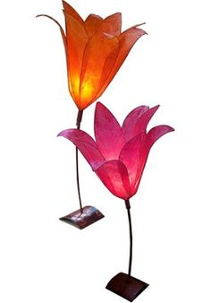 Small Lily Lamps by Colin Chetwood - colored tissue paper shades --- seen on: All Things Paper: Radiance Lighting