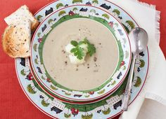 Roasted Cauliflower Soup with garbanzo beans and coriander - Ah, the possibilities of owning an immersion blender....