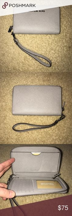 Michael Kors wristlet Leather grey MK wristlet. Brand new! Michael Kors Bags Clutches & Wristlets