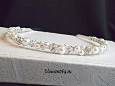 Swarovski Pearls rhinestone Balls Bridal Tiara Headband White or Ivory Beaded Silver Metal Hair Flower girl Wedding accessories. $34.00, via Etsy.