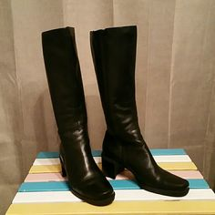 Boots, Black Leather, Soft Black, very soft leather, Zippered closure very clean, hardly worn Easy Spirit Shoes Heeled Boots