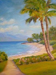 "Plein air artist Linda Mitchell's painting ""Wailea Path""."