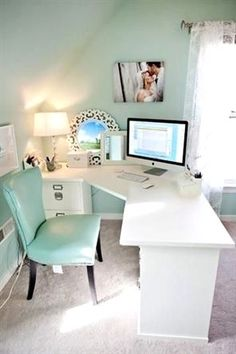 home office ideas ~ home office . home office ideas . home office design . home office decor . home office organization . home office space . home office ideas for women . home office for men Mesa Home Office, Cozy Home Office, Home Office Space, Home Office Desks, At Home Office Ideas, White Desk Home Office, Home Office Furniture Ideas, Cheap Office Ideas, Mint Office