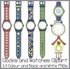 This Clipart Set contains 5 images of watches and 2 images of clocks, the images come in both colour and black and white.These images are intended for personal and/or commercial use.I hope you enjoy using this clipart set, if you have any comments or feedback, Id love to hear from you!