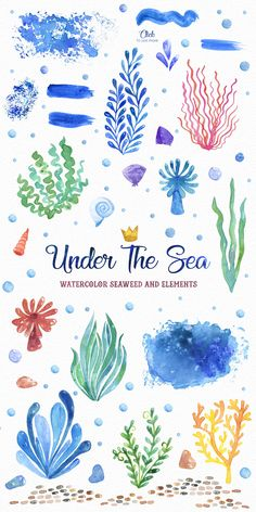 Under The Sea Watercolor Clipart Set Instant Digital – Under The Sea Watercolor … Leaves Illustration, Meer Illustration, Watercolor Illustration, Watercolor Clipart, Watercolor Ocean, Watercolor Paintings, Watercolor Animals, Watercolor Paper, Ocean Drawing