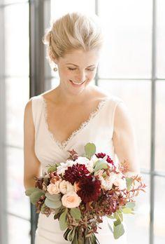 Fall Wedding Bouquet: White Roses and Red Zinnias | Brides.com