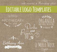 Premade Logo Design Templates Set 7 // PSD & Vector EPS  // Photoshop Template // Hand Drawn // Photography Logo // Commercial Use