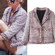 winter womens vintage Tweed wool suit jacket coat designer jacket outwear