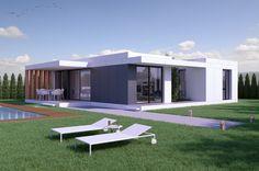 Vivienda compacta en una planta, distribuida en tres dormitorios.   La vivienda se divide en una banda de día, una banda de servicios y una banda de noche. Un patio situado en la banda de servicios articula toda la vivienda y dota de vistas cruzadas a los diferentes espacios de la vivienda. Cool House Designs, Modern House Design, Miami Houses, Prefab Homes, House Layouts, House Floor Plans, Home And Family, New Homes, Outdoor Decor