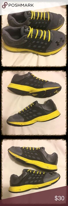 Under Armour Micro G Shoes Size 7 Gray fabric upper, black and yellow accents. Micro G cushioned landings. In good condition with creasing of the toe box. Size 7. Under Armour Shoes Sneakers