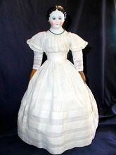 1850s era 17 inch Glass eyed Greiner style china head doll