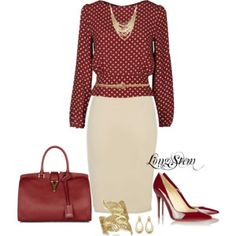Dots on a red blouse, red handbag and high heels, white pencil skirt - classic style, classic beauty