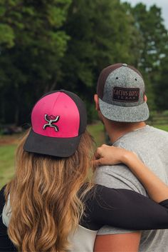 HOOey Pink with Black Embroidered Logo and Black Mesh Back Snap Back Cap