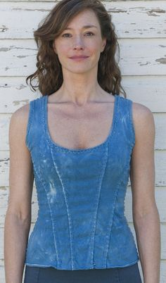 Sewing Idea - www.AlabamaChanin.com - Alabama Denim Maggie Top, White or Blue $295