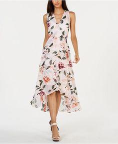 Calvin Klein Floral-print High-low Wrap Maxi Dress In Blush Floral Maxi Wrap Dress, Boho Dress, Knot Dress, Cocktail Attire, Review Dresses, Calvin Klein Dress, Facon, Marie, Summer Dresses