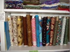 4 easy (& cheap) ways to organize your fabric TIP #1 for 2 yds or more & TIP #2 one-half to one yard...