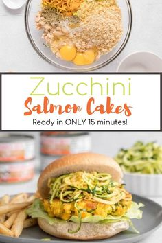 These turmeric zucchini salmon cakes are the perfect quick and healthy dinner. These patties can be made in less than 20 minutes and are high in protein and healthy fats! High Protein Recipes, Easy Healthy Recipes, Healthy Fats, Healthy Snacks, Vegetarian Recipes, Easy Meals, Canned Salmon Recipes, Seafood Recipes, Dinner Recipes