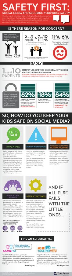 Safety First: Social Media and Securing your Kid's Safety Infographic Safety First, Child Safety, Social Media Safety, Marketing, Internet Safety For Kids, Social Media Measurement, Computer Security, Web Security, Mobile Security