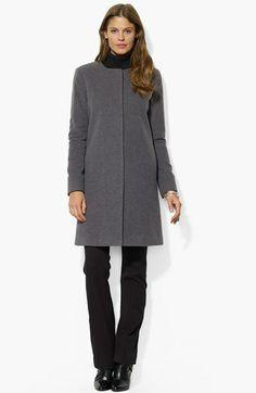 Lauren Ralph Lauren Collarless Wool Blend Coat
