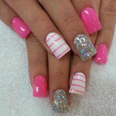 ♥ #pink nails #holiday nail art