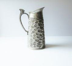 Art Nouveau Repousse Scale Design Ewer - Embossed Metal Pitcher - Vintage Pewter Silver Beverage Pourer - Antique Illustrated Chased Metal - pinned by pin4etsy.com