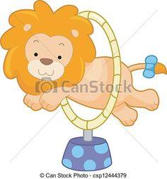 Circus Lion Jumping Through Hoop Sideview - csp12444379