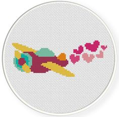 INSTANT+DOWNLOAD+Stitch+Valentine+Plane++PDF+by+DailyCrossStitch,+$2.99