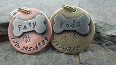 Pet ID Tag - Pet Tag - Dog Tag - #Collar Tag - with a #Nickel Bone - #Brass or Co,  View more on the LINK: http://www.zeppy.io/product/gb/3/82128242/